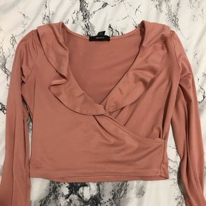 Forever 21 Tops - Pink long sleeve ruffle crop top